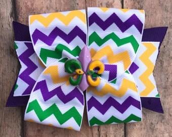 Mardi Gras hair bow, sweet and simple mardi gras hair bow,