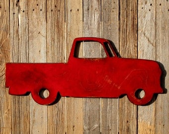 Truck Wall Art Pickup Large Truck Pickup Truck Sign Retro Pickup Truck Red Truck Vintage Truck Boys Playroom Decor Truck Sign READY TO SHIP