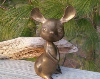 Brass Mouse Figurine Bookshelf Home Decor