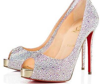 Custom Crystal Louboutin Shoe's send your own Louboutin shoes to be strassed !! Strass Louboutin bridal shoes.
