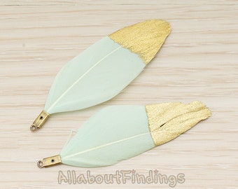 PDT1492-01 // Mint Colored Imitation Feather Half Dipped in Gold Feather Charm Pendant, 2 Pc