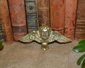 Antique French Winged Cherub Brass Pediment Mount Trim Hardware