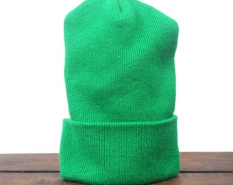 Vintage Blank Made In USA Kelly Green Beanie Knit Ski Warm Winter Hat Cap Toque
