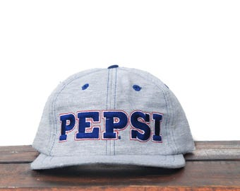 Vintage 90's Heather Grey Pepsi Logo Soda Pop Cola Drink Elastic Strapback Hat Baseball Cap