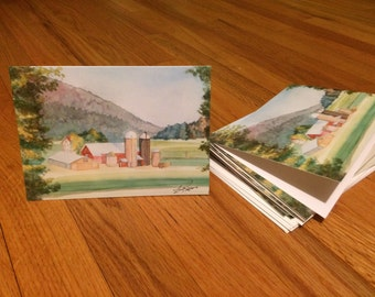 Stationary Watercolor Farm Landscape Painting Card Set Signed