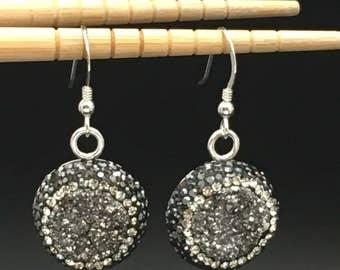 Druzy Earrings, Silver Druzy Earrings, Pave Swarovski Crystal Earrings, Statement Earrings, Silver Earrings, Earrings under 75