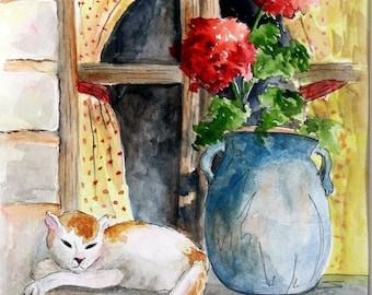 CAT on Window Sill - Original Watercolor