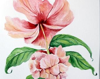 PINK HIBICUS FLOWER - Original Watercolor