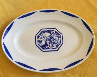 Oval china dish / Luneville France / Art Deco / Annees 30 - 40