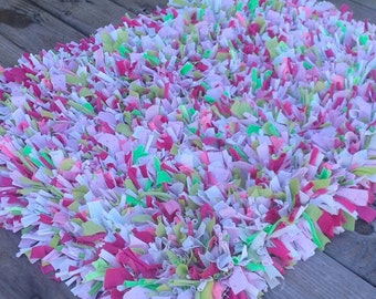 Shabby chic rag rug, shaggy rug, recycled materials, pink green white, girls rug, fabric strip rug, shaggy pink rug, ruffle rug