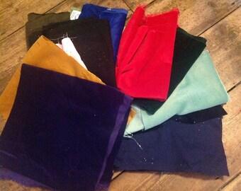 REMNANTS - Velvet Remnant pack - 100% Velvet - dressmaking & furnishing: approx 950g