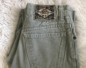 Vintage Express Jeans // 1990s Mom Jeans // 90s Express // 1990s 90s Express High Waist Faded Sage Green Denim Mom Jeans 3/4