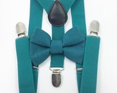 FREE DOMESTIC SHIPPING! Teal suspenders  + Matching Bow tie toddler kids holidays photos family photoshoot