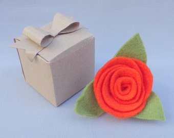 Orange Felt Flower Rose Hair Clip Brooch Boutonniere Pin . Handmade flower and leaves with pin back.