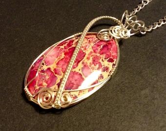 Handmade wirework pendant, Pink sea jasper pendant