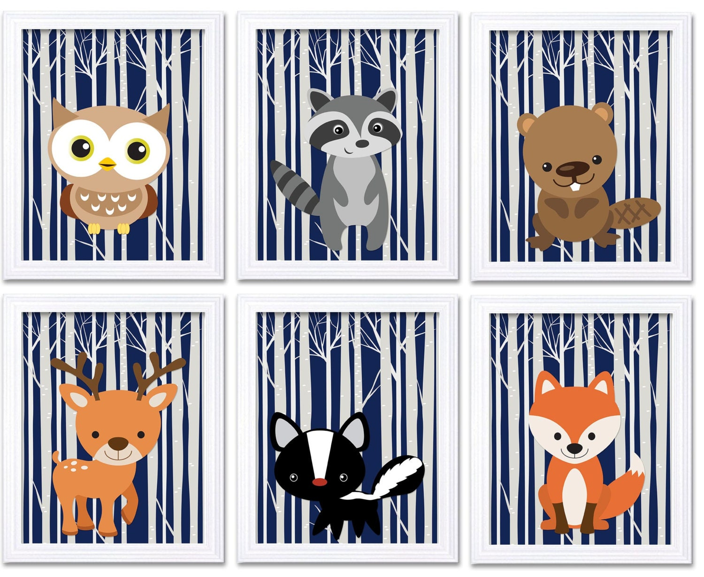 Woodland Animal Navy Blue Nursery Art Print Set of 6 Owl Racoon Beaver Deer Skunk Fox Tree Wild Fore