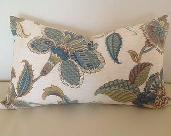 Hamptons Style Cushions, Cover Only, Teal Floral Cushion Cover, Finders Keepers Floral Pillows. Floral Cushions, Scatter Cushion.