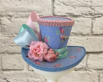 Mad Hatter Mini Top Hat, Alice in Wonderland Mini Top Hat, Teapot Tea Party Mini Top Hat, Tea Party Top Hat