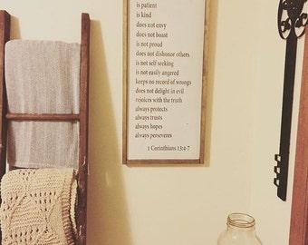 1 Corinthians - Love is Patient, Love is Kind Sign//Wedding Sign//Scripture Sign