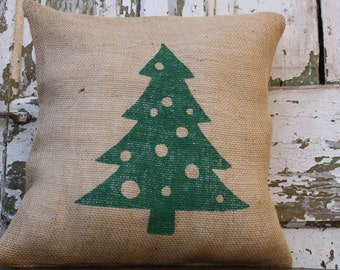 Burlap Christmas Tree Pillow Cover, Throw Pillow, 12x16 or 16x16 Pillow Cover
