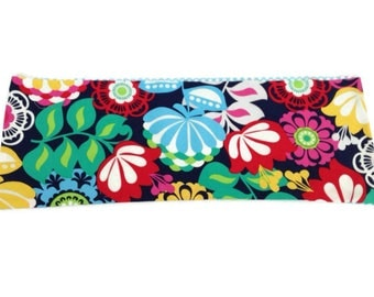Microwaveable Flax Seed Heating Pad with Bright Blue and Red flowers and Blue and White Polka Dots