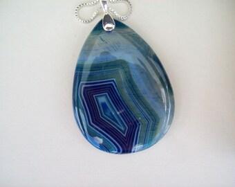 """Blue Agate Teardrop Pendant on chain 2-1/4"""" long"""