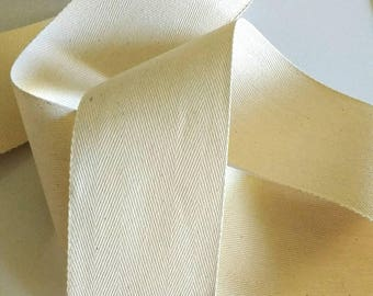 "Cotton Twill Tape, Vintage Ivory Linen Herringbone Ribbon 3"" inch wide"