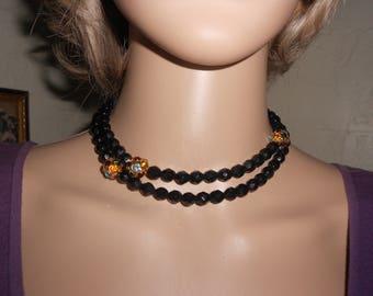 "Long Jet Black Beads Interspersed w/Rhinestone Clusters/30"" Black Bead Necklace"