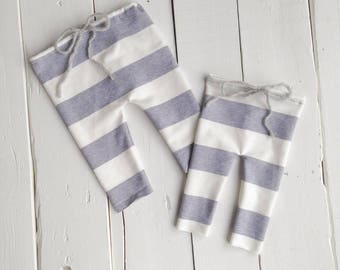 Cream & Gray Striped Sitter and Newborn Pants