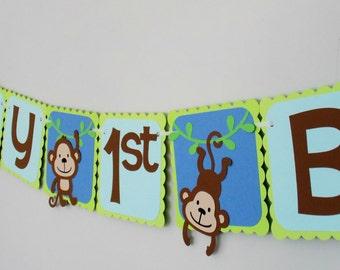 Monkey Birthday Banner/ 1st Birthday/ Monkey Party/ Jungle Party/ Safari/ Baby Shower/2nd/3rd/Monkey Decor