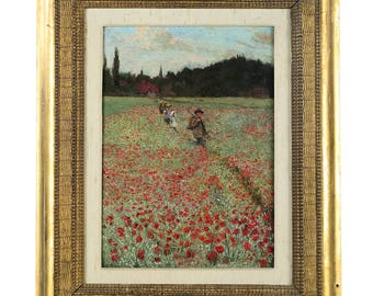 Carline -Crossing the Poppy Field -Beautiful oil Painting -1892
