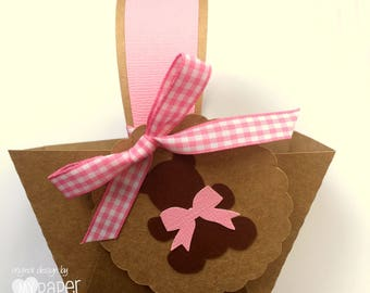 Pink Teddy Bears Picnic Mini Baskets. Birthday party or baby shower favors, gift box, thank you gifts. Party favor box, table decorations.