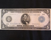 Vintage Currency Rare 1914 Large Size  5 Dollar Boston Type-A  Federal Reserve Note