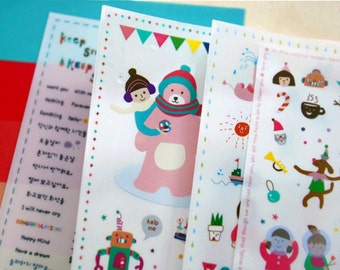 cute doll stickers set - daily deco sticker - 6 Sheets