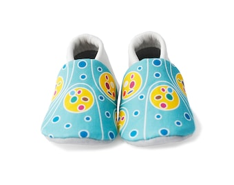 Baby Shoes Girl - Soft Sole Baby Shoes - Blue and Yellow - First Baby Shoes - Crib Shoes - Baby Gift - Baby Shower Gift -Baby Slippers