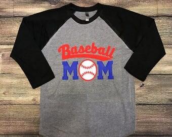 Baseball Mom shirt, Baseball Tee, Woman's Shirt, Woman's baseball Shirt, 3/4 Sleeve Shirt, sports mom, tball tee, tball mom