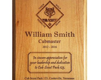 Cub Scout Leader or Member Recognition Plaque - 8 x 10 or 9 x 12 Alder
