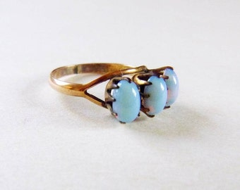 Victorian rosy yellow gold filled 3 stone opalite trilogy ring 1800s size 5.5