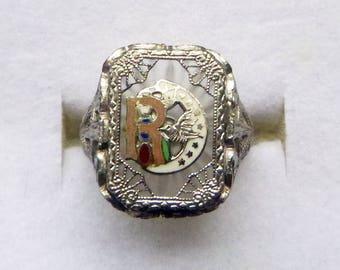 Art Deco sterling filigree camphor glass and enamel daughters of rebekah emblem ring size 4