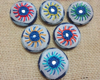 6 Fabric Covered Buttons, Decorative Buttons, Sew on Buttons with Mirrors, Embroidered Buttons - Large