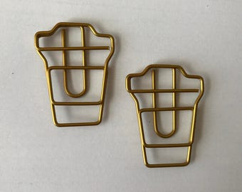 Gold Coffee Cup Paper Clips