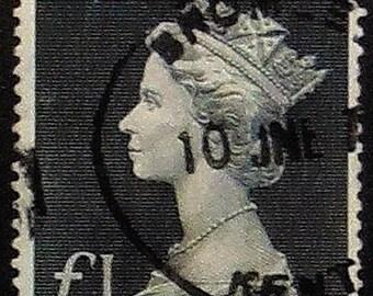 Queen Elizabeth -Handmade Framed Postage Stamp Art 21180AM