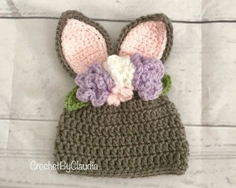 Flower Crown Bunny Beanie/Bunny Hat/Flower Crown Hat/Crochet Prop/Made to Order