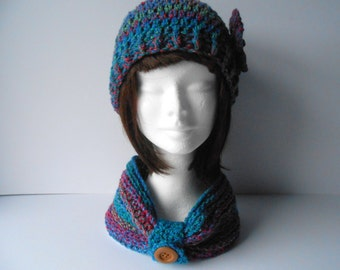 Hat and Scarf Set. Women's Scarf and Hat Set. Gift for her. Crochet Hat and Scarf Set. Crochet Beanie Hat. Crochet Cowl scarf. Multicoloured