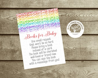 INSTANT DOWNLOAD Rainbow bring a book card insert, Books for Baby, Rainbow Baby Shower Invitation Insert, book instead of a card, DIY
