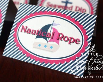 Nautical Hot Pink and Striped Navy Blue Tent Cards