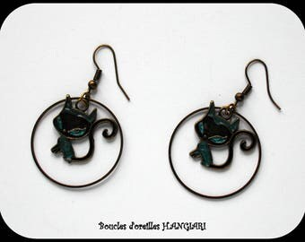 Bronze cat earrings, electric blue, bronze creole, bronze hooks, decorative prism fantasy painting