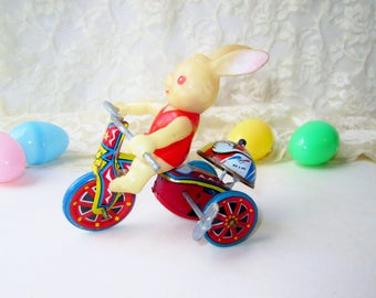Wind Up Easter Bunny on Tricycle Tin Toy Vintage Mechanical Wind Up Rabbit Collectible Toy Lithograph Tin Trike w Ringing Bell Easter Gift