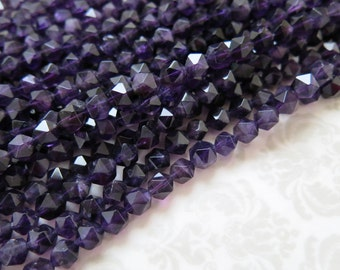 """Amethyst Beads, Natural, Not Heat Treated or Dyed, 7-8mm, Unique Star-Cut Faceting, Full 15"""" Strand, 52 Beads, February Birthstone"""