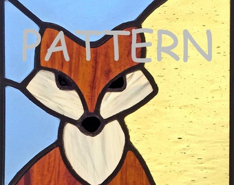 Stained glass Fox PATTERN, Art Deco, for stained glass or mosaic.